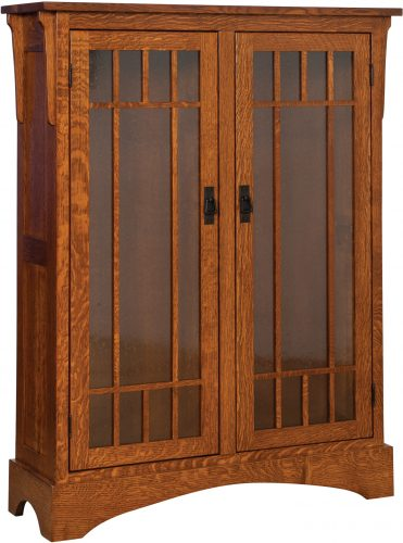 Amish Midway Mission Small Bookcase with Seedy Glass