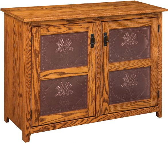 Amish Mission Two Door Pie Safe with Copper Panel Doors