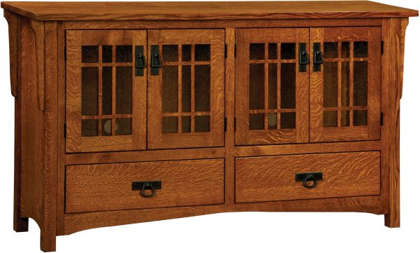 Amish Greenwood Mission Four Door Plasma TV Cabinet