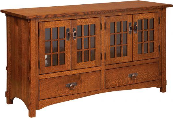Amish Harmony Mission Four Door Plasma TV Cabinet