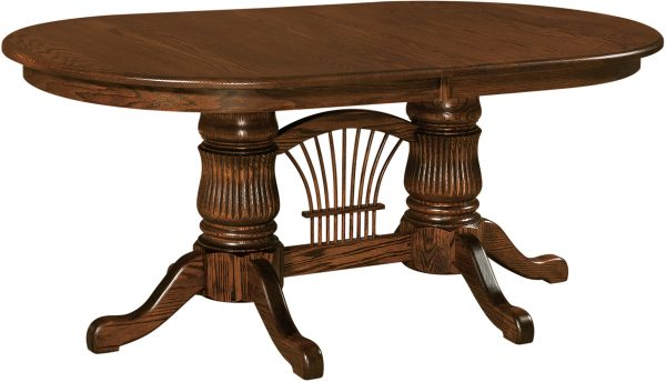 Amish Fluted Double Pedestal Table