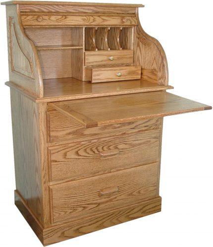 Amish Full Pedestal Roll Top Desk