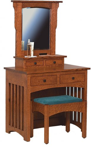 Amish Mission Dressing Table with Bench