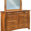 Amish Ravena Nine Drawer Mule Dresser with Mirror