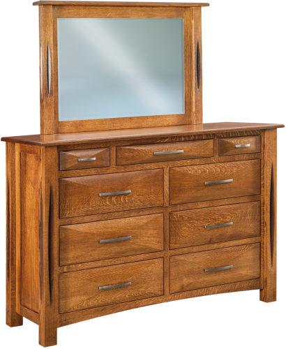 Amish Ravena Nine Drawer Mule Dresser with Mirror