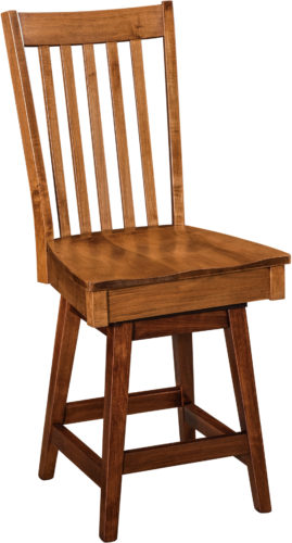 Amish Newport Hardwood Swivel Bar Stool