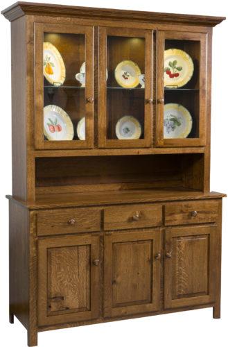 Amish Shaker 3 Door Cabinet Hutch