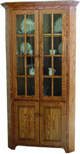 Amish Shaker Corner Cabinet Hutch