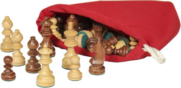 Large Wooden Chess Pieces Including Bag