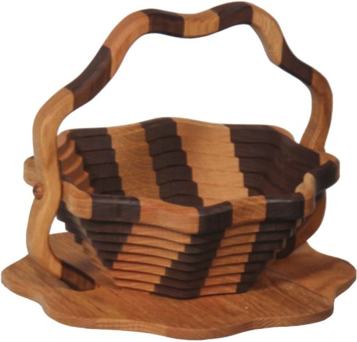 Collapsible Striped Basket With Lotus Base
