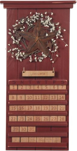 Red Star and Berries Perpetual Calendar