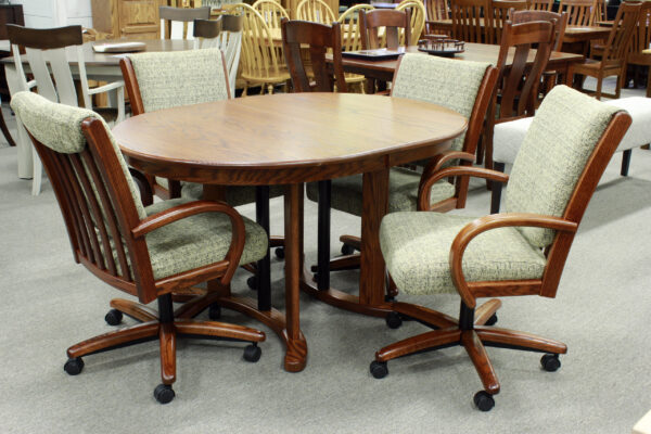 Oval Double Pedestal Table Set with Four Swivel Tilt Chairs