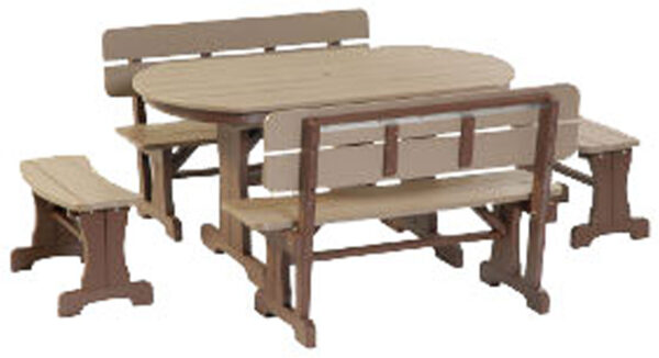Poly Oval Patio Table Dining Set with Benches