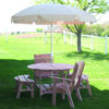 Cedar Round Picnic Table Set with Umbrella