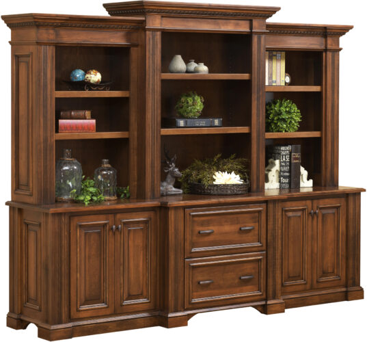 Amish Lincoln Base and Three Piece Hutch