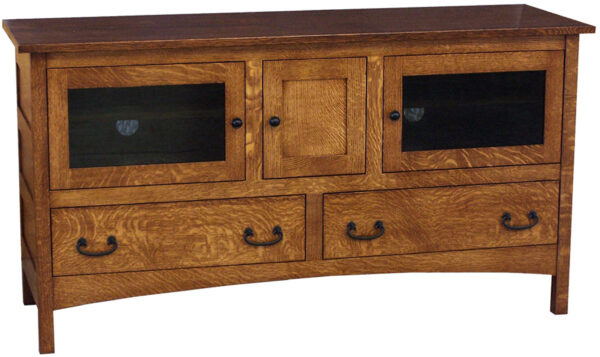 Amish Granny Mission Plasma TV Stand with Three Doors and Two Drawers
