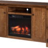 Amish Craftsman Mission TV Stand with Fireplace Insert in Center