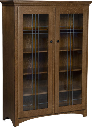 Amish Mission Style Two Leaded Glass Door Bookcase