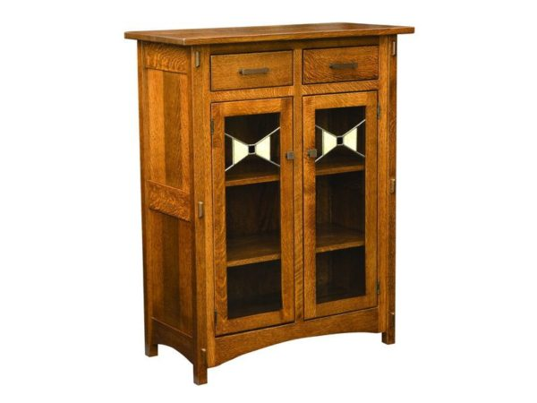 Amish Crestline Two Door Cabinet with Glass Panels
