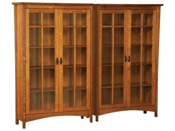 Amish Arts and Crafts Double Bookcase with Four Doors