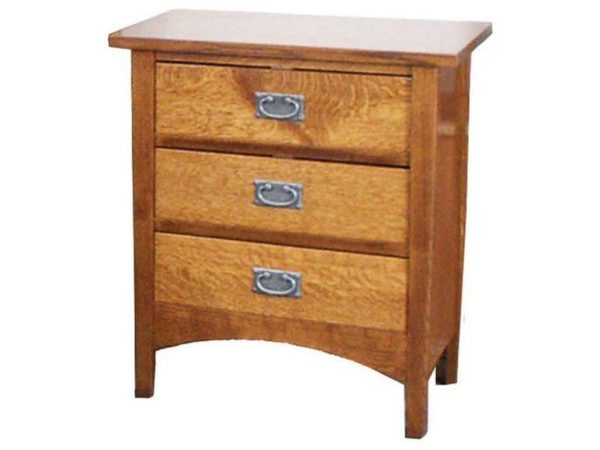 Amish Arts and Crafts Three Drawer Nightstand
