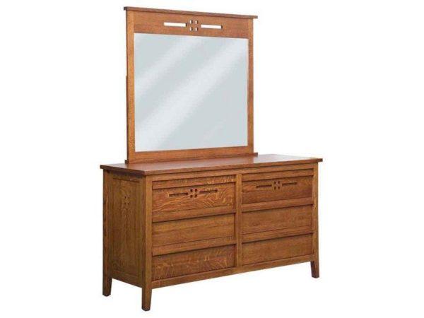 Amish West Village Six Drawer Dresser with Mirror