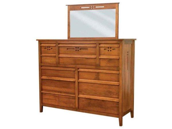 Amish West Village Twelve Drawer Dresser with Mirror