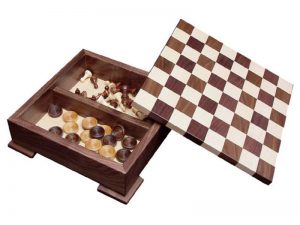 The Walnut and Maple Checker and Chess Set