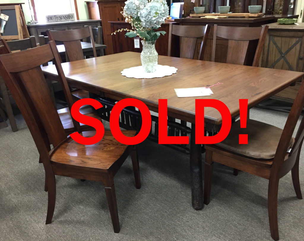 Sold 42 x 72 Rustic Hickory Lake Lodge Table and Chair Set