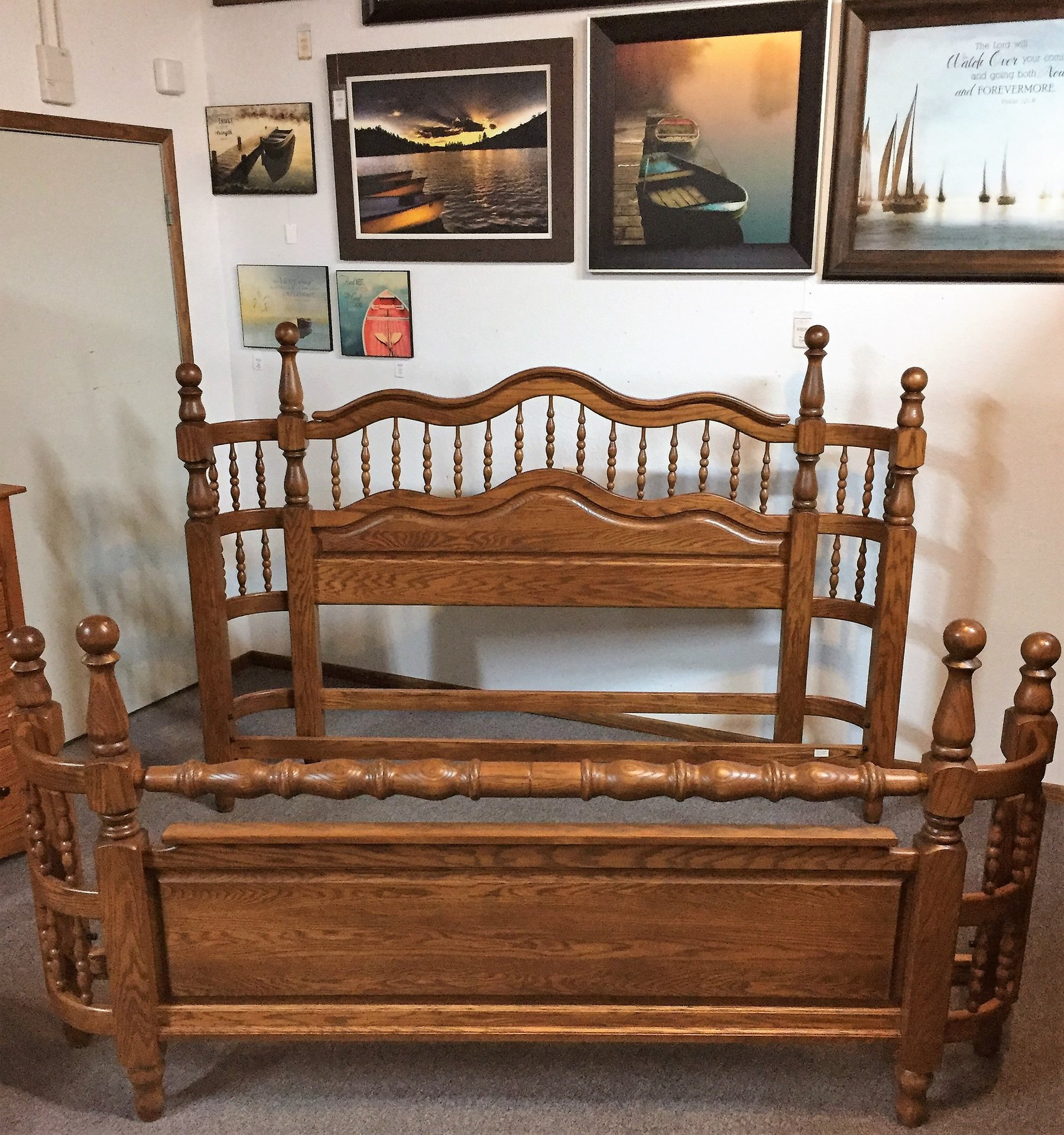 King Tall Solid Oak Wrap Around Bed