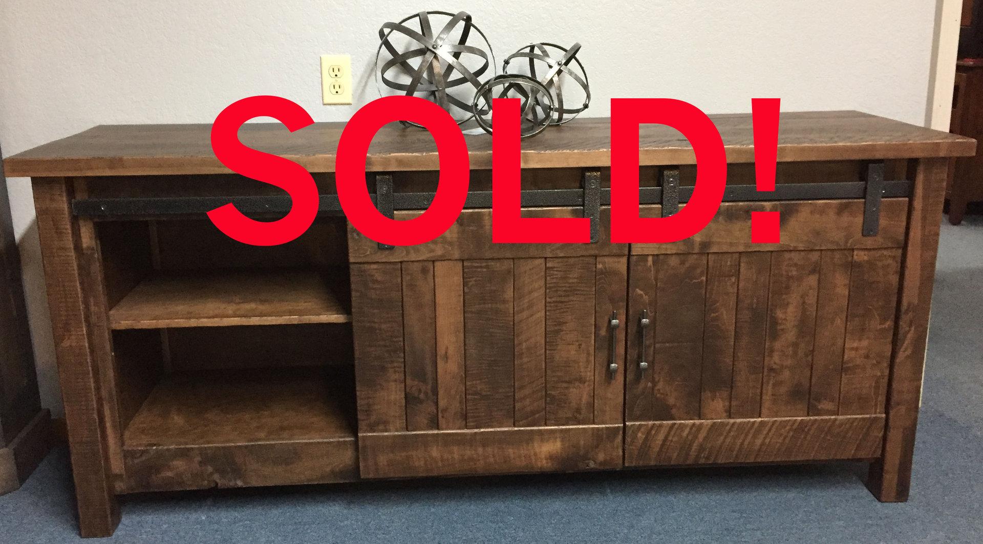Rough Sawn Maple Barn Door Tv Cabinet Sold