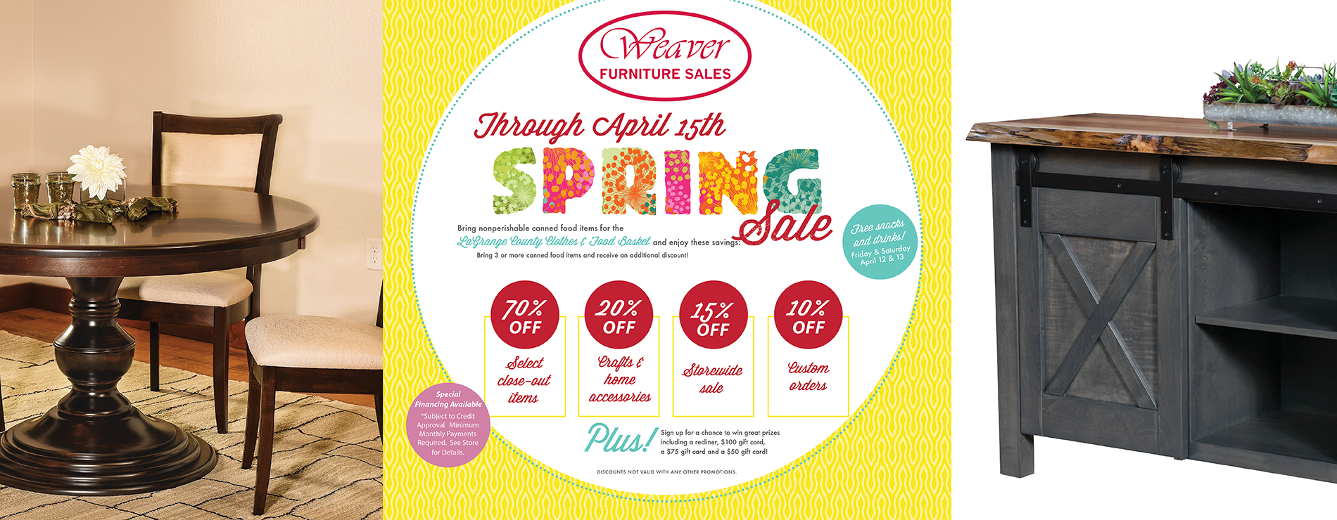 Weaver Spring Time Amish Furniture Sale and Food Drive