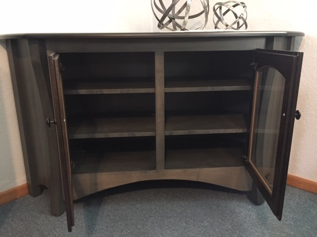 Open Door Solid Wood Gray Corner TV Cabinet