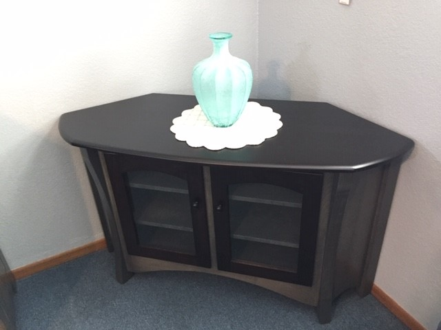 Solid Wood Gray Corner TV Cabinet Top View