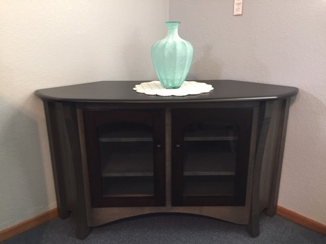 Solid Wood Gray Corner TV Cabinet