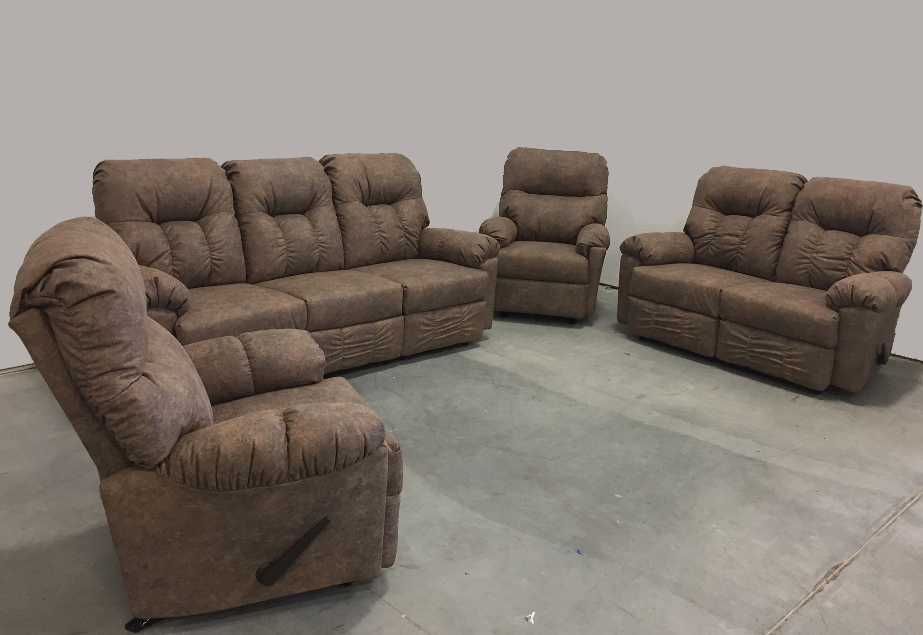 Very comfortable Reclining Sofa Loveseat and Rocker Recliner Set.