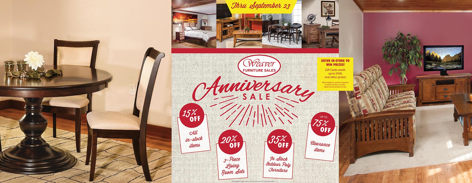 Weaver Furniture Sales 30th Anniversary Sale