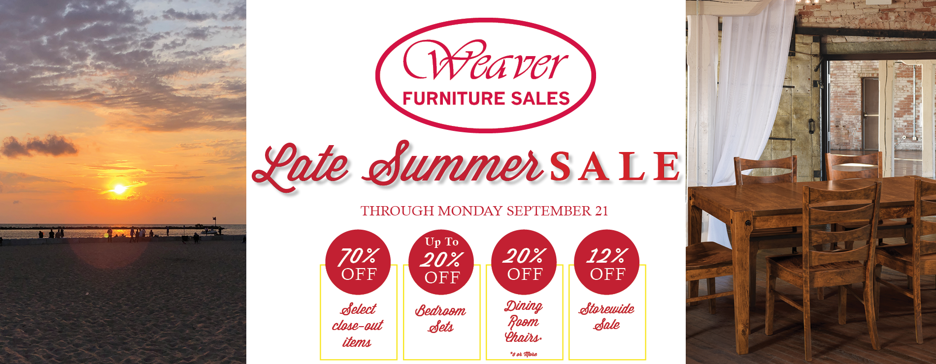 Weaver Furniture Sales Late Summer Sale